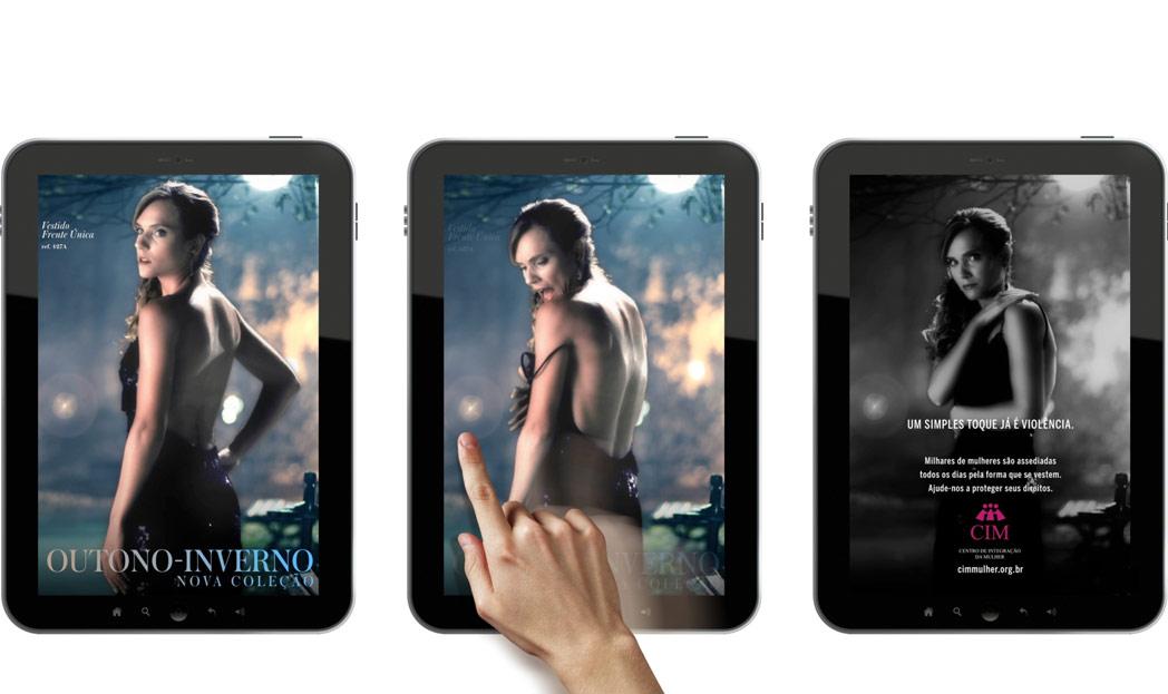 Anúncio interativo no tablet