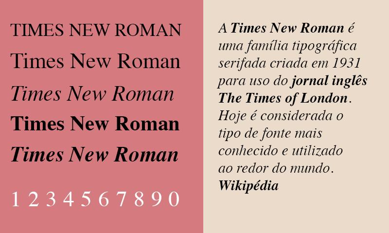 Diagramação de livros impressos, tipografia times new roman